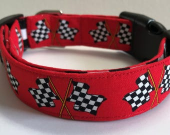 Checkered Racing Flag Dog Collar Size XS, S, M, L