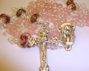 Catholic rosary,rosary,mary praying,miraculous,pink quartz, rosary bookmark,AbundantGrace,Indylin,lampwork beads, peony beads,religious gift