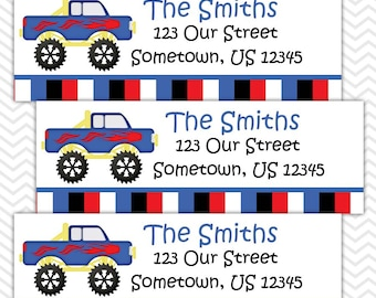 Monster Trucks - Personalized Address labels, Stickers, Baby Shower, Birthday