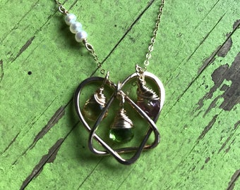 Small Gold Filled Celtic Adoption Triad Necklace 3 birthstones - Symbolic Gift Adoptee Mother Birth Mom Adopted Child Adoption