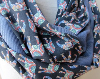 Elephant scarf - elephant print scarf- denim blue linen infinity scarf for woman man fashion-mad -animal Scarves- wanderluster Gift For Her