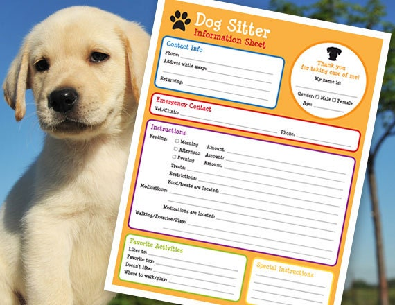 pet sitter information sheet