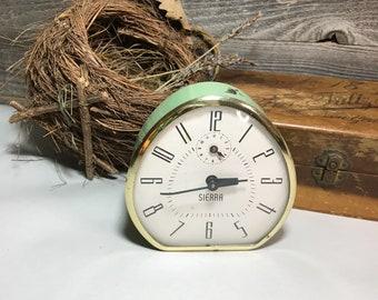 Vintage Alarm Clock- Sierra- Retro Green Alarm- Industrial Winding Clock- Photo Prop- Non Working- N35