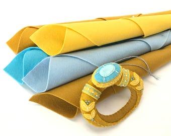 Wool Felt Kit, Golden Ring, Christmas Ornament, 12 Days Ornaments, DMC Floss, Sulky, Stick 'n Stitch, DIY Felt Craft, Embroidery, Engagement