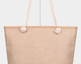 Solid Rope Handle Beach Tote Bag