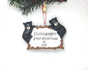 2 Black Bear Cubs Ornament / Personalized Christmas Ornament / Bear Couple / Christmas Ornament