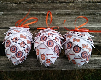 CHOOSE YOUR SCHOOL Paper Ornament. Christmas, Unique Gift, Mom, Dad. Decoration, Pinecone.