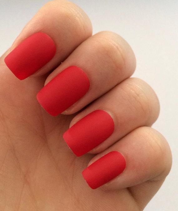Matte nails red fake nails short square nails