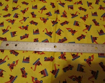 Yellow with Orange Construction Vehicles Toss Cotton Fabric by the Yard