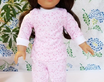 """Pink and White Stars Pajamas and Matching Robe for American Girl and 18"""" Dolls"""