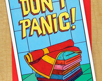 Don't Panic- Greeting Card- Large Card- Any Occasion- Blank Card- Hitchhikers Guide to The Galaxy- Douglas Adams- Towel Day- 42- Arthur Dent