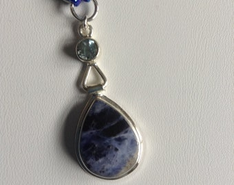Blue Gemstone and Sterling Necklace