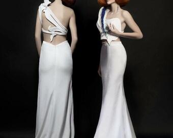 "White velvet ""Geode"" 2-piece contemporary wedding look"