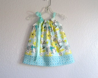 Baby Girls Hummingbird Pillowcase Dress - Aqua Dress and Bloomers Outfit - Infant Dress in Aqua and Yellow - Size Nb, 3m, 6m, 9m, 12m or 18m