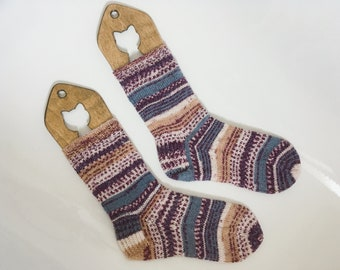Size 37-39 Warm Hand Knit Socks, Woolen Socks, Colorful Socks