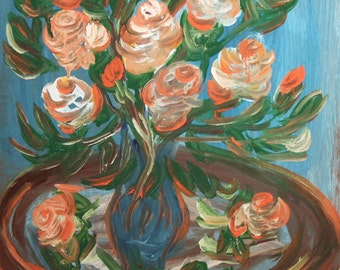 Still Life with flowers oil painting expressionism signed