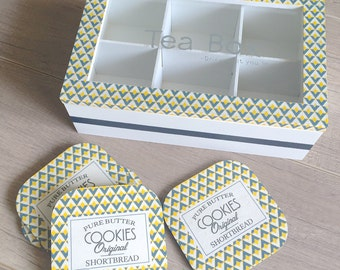 Tea box 6 compartments and these coasters with blue and yellow triangle pattern