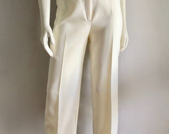 Vintage Women's 70's Cream Pants, High Waisted, Tapered Leg by Devon (M)