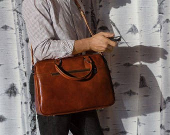 Leather Briefcase, Men's Slim Briefcase, Laptop Bag, Leather Bag, Brown Leather Briefcase, Floto Venezia Slim (878BROWN)