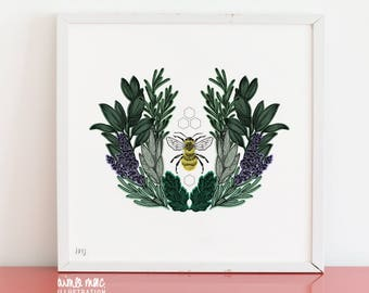 A3 Square Lavender Bee Print on Premium 250gsm Recycled Stock - Free UK Shipping!
