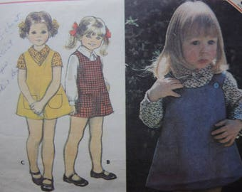 vintage 1970s McCalls sewing pattern girls jumper and blouse size 4
