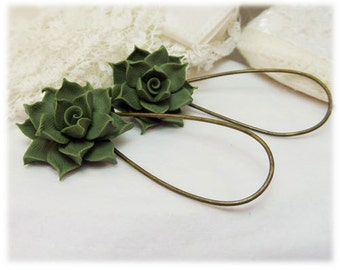 Succulent Dangle Earrings - Succulent Drop Earrings
