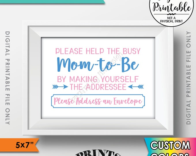 """Address an Envelope Baby Shower Sign, Help Mom-to-Be by being the Addressee, Address Thank You Envelope, Printable 5x7"""" Custom Color Sign"""
