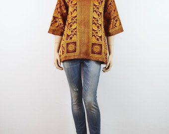 Rust Indian Tapestry Tunic // 60s vintage Hippie top 70s DEADSTOCK India Boho hand loom Pure cotton Brocade tunic Woodstock festival shirt