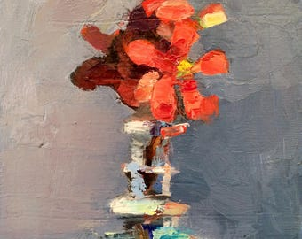 """Romantic gift-Together """"Flowering Quince 6"""" Floral 7"""" x 5"""" Still Life Original Oil Painting Impressionist  Expressionist"""