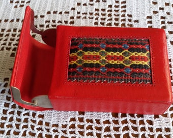 Vintage 80s Red Leather with Embroidered Thread Details Cigarette Case,Metal Opening Mechanism Cigarette Case,Gift for Her,Smoking Gift