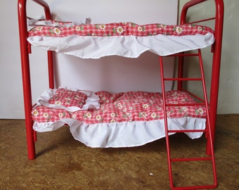 American Girl Doll Bunk Bed, Red with Floral blankets and matching pillows includes ladder