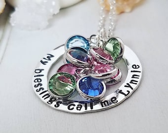 My Blessings Call Me Grandma, Sterling Silver Name Necklace, Personalized Grandmother Necklace, Custom Nana Necklace, 10 or more Birthstones