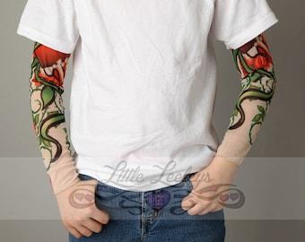 Tattoo Sleeve Heart Roses White Shirt for Boys or Girls