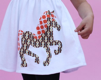 Girl's Dress wtth Horse, Toddler Dress or Girls Dress- Horse Applique - You Choose Dress Color and Sleeve Length