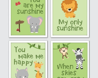 Safari Nursery, Jungle Nursery Set of 4, You Are My Sunshine, Kids Safari Wall Art, Baby Animal Prints, Safari Nursery Art, Jungle Nursery