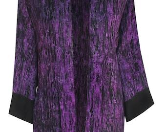Women's Kimono Jacket Purple, Plus Size Cardigan, Oversized Tunic Kimono Cardigan, One Plus Size (1x 2x) Handmade Clothes, Boho Kimono 1x 2x