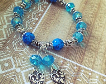 Chunky stretch women bracelet, blue, silver, gift, give, boho, heart, Crystal, Bohemian, made with love