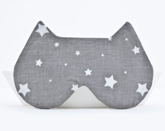 Cute Sleep Mask with the Stars, Christmas Gifts for Her, Cat Lover Gift, Cat Mask, Girlfriend Gift, Gray Cat Ears, Gift Ideas for Teen Girls