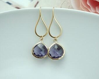 Egg Plant Purple Gold Glass Drop Dangle Earring, Dark Purple and Gold Wedding. Amethyst Glass Glass Earring, Bridesmaid Gift. Purple Wedding