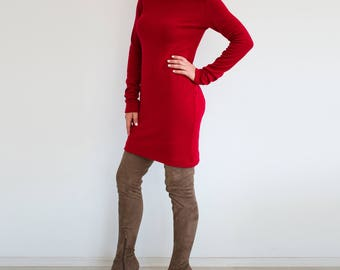Red sweater dress/ turtleneck dress/ winter sweater dress/ Long sleeve dress/ Fall dress/ Plus size sweater/ Knit red dress/ Women dress