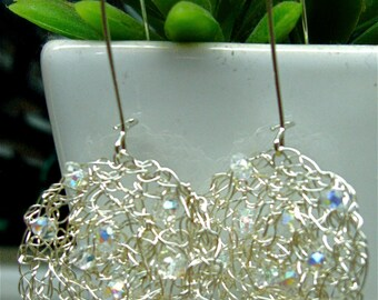 Sparkling Silver wire crochet circle earrings with crystal beads