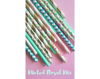 Tea Party Decorations. Floral Straws. Shabby Chic Straws. Vintage Straws. Floral Straws. Flower Straws. Bridal Straws. Baby Shower Straws.