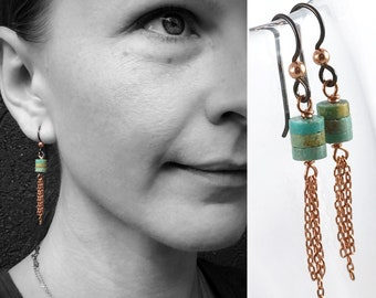 Turquoise Tassel Earrings - Genuine Turquoise - Copper Tassels - Hypoallergenic Niobium Hooks - Long Dangle Earrings