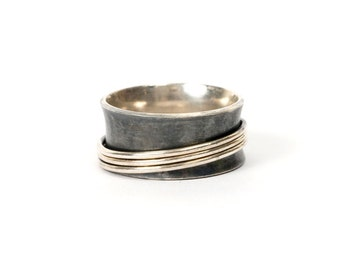 Wide concave ring, moving rings of silver, black ring