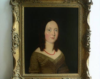 Victorian Antique oil painting on canvas young Lady with necklace