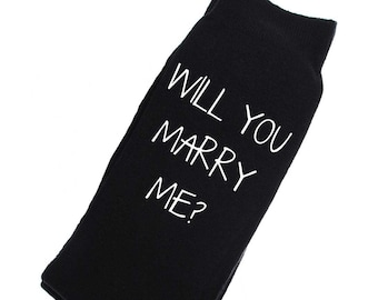 Will You Marry Me? Socks Mens Black Socks Proposal Wedding Marriage
