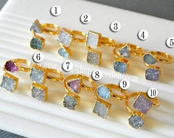 Druzy ring, Gold plated Double Druzy ring, Adjusted druzy ring, Agate druzy Ring, gemstone ring, multicolor Druzy Gemstone ring.-JSR-4977