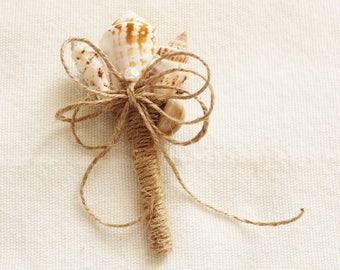 Shell Boutonniere Sea , Wedding Sea Shell, Beach Wedding, Groom Boutonniere, Clamshells boutonnieres, Starfish, Button Boutonniere