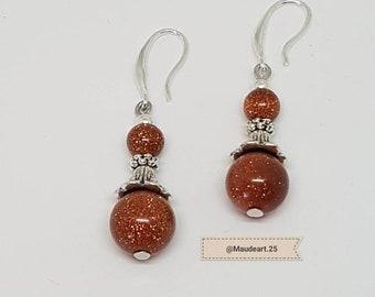Orange Galaxy sand bead earrings