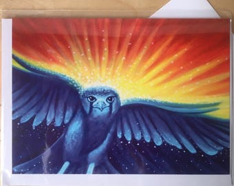Of the Day and Night - hawk blank art card